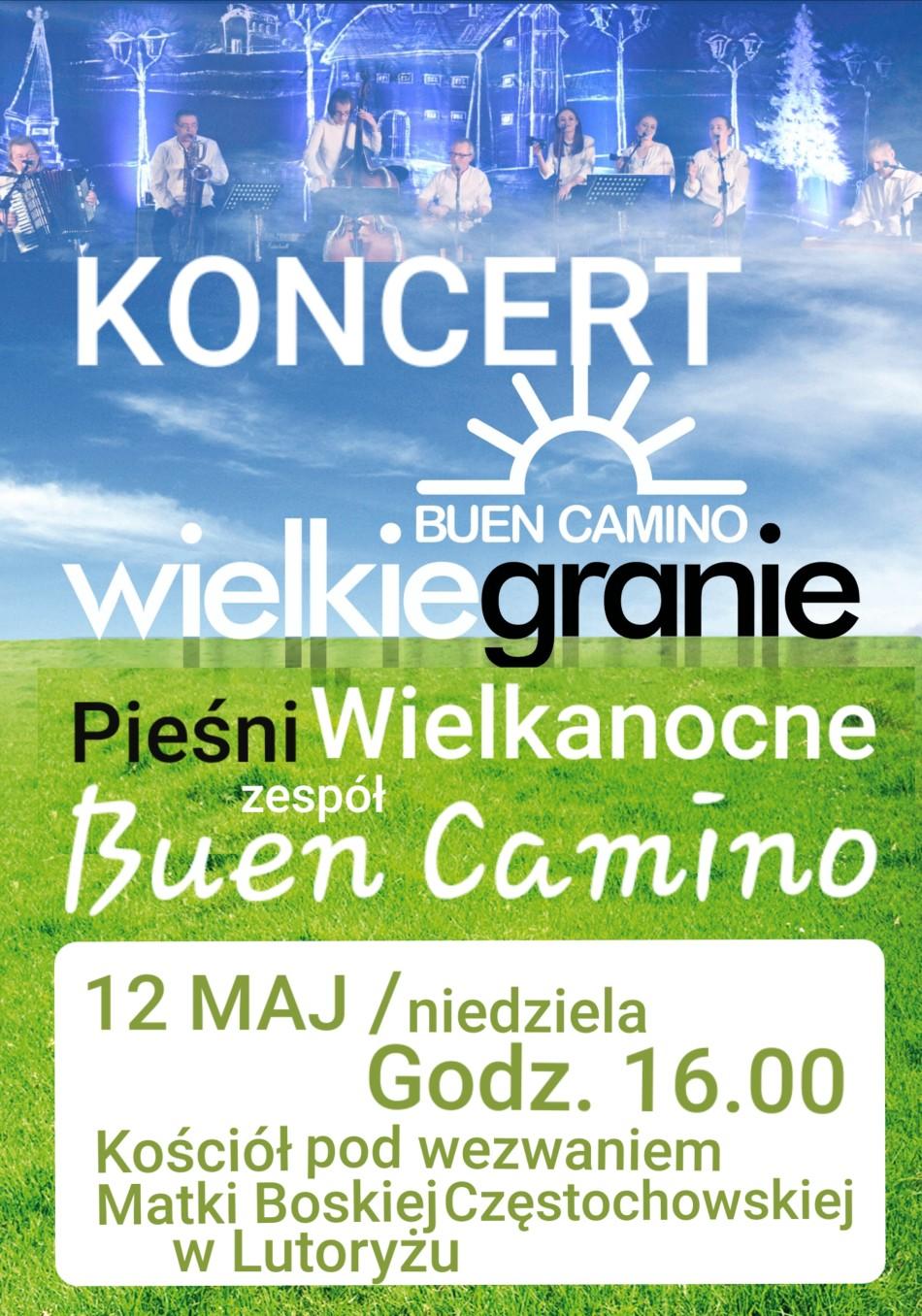 Plakat - Koncert Wielkanocny Buen Camino w Lutoryżu.